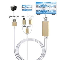 ZFKJERS 3 in 1 Lighting/Micro USB/Type-C to HDMI Cable, Mirr