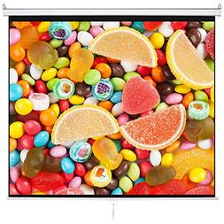 """120"""" 1:1 Manual Pull Down Projector Projection Screen with A"""
