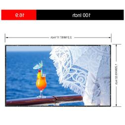 """Excelvan 100"""" 16:9 Collapsible HD Portable Projector Screen"""