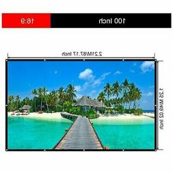 "100"" Portable Foldable Wall Projector Screen HD 16:9 Home Th"