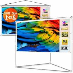 """JaeilPLM 100"""" 2-in-1 Portable Projector Screen Compatible Tr"""