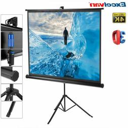 "Excelvan 100"" 4:3 HD 3D Manual Pull Up Projector Projection"