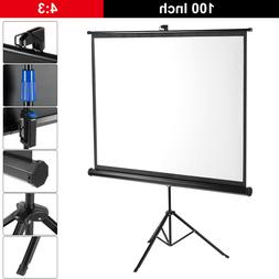 "Excelvan 100"" 4:3 Portable Pull Up Projector Screen With Sta"