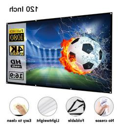 "100"" & 120'' Portable Foldable Projector Screen 16:9 HD Home"