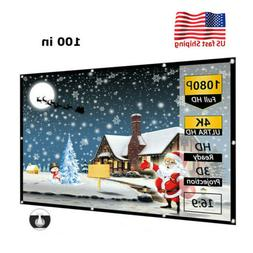 """100"""" HD Projector Screen Fabric 16:9 Home Movie Theater Thic"""