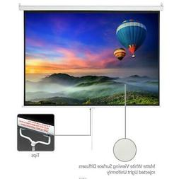 "100"" Home Movie Manual Projection Screen Pull Down Projector"