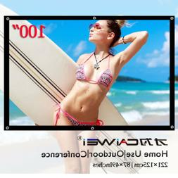 "100"" Inch 16:9 Portable Projector Screen Home Theater HD 108"