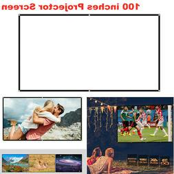 """100"""" Portable HD Projector Projection Screen Foldable 16:9 3"""