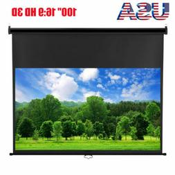 """100"""" Manual Pull Down Portable Projector Screen 16:9 HD Home"""