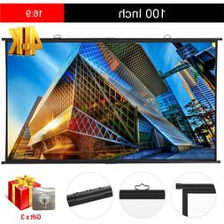 100'' Portable 160° Hanging Projector Screen 16:9 4K HD Hom