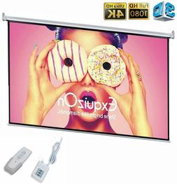 "100"" Projector Projection Screen 16:9 Wall Ceiling Electric"