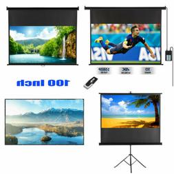 70/'/'-120/'/' Projector Screen 3D 4K Electric Motorized Screen Home Cinema W// Stand