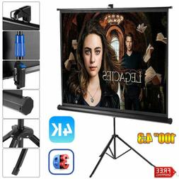 """100"""" Projector Screen Portable In/Outdoor 4K 1080P 3D Tripod"""