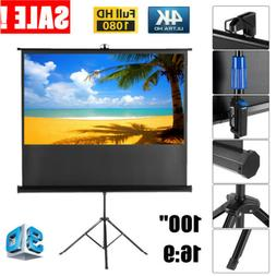 "100"" Pull Up Projector Screen For HD Movies Projection +Stab"