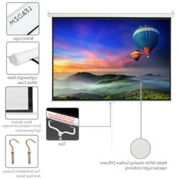 """100"""" 4:3 Projector Screen Pull Down Home HD 4K 3D Movie Conf"""