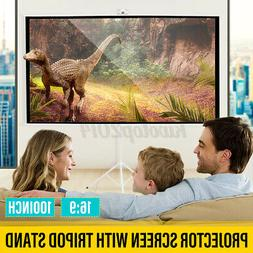 100inch 16:9/4:3 Portable Projector Screen Tripod Stand HD H