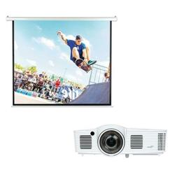 Optoma 1080P Short Throw Gaming Projector Pyle Motorized Scr