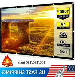 100-150'' Foldable Projector Screen 16:9 HD Anti-Crease Home