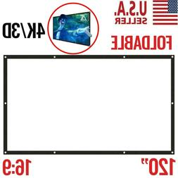 """120"""" 16:9 HD Foldable Portable Projector Screen Home Theater"""