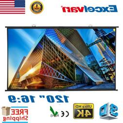"""120"""" 16:9 Projection Projector Screens HD Manual Pull Down H"""