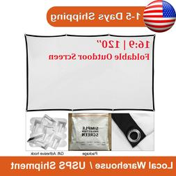 """120"""" 16:9 Projection Screen Projector Movie Matte 3D Home Ci"""