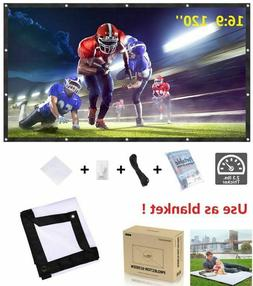 """120"""" Projector Screen 16:9 Pull Down Projection HD Home Thea"""