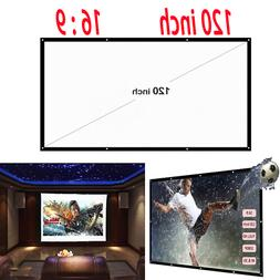 120'' Projector Screen HD 16:9 Diagonal Video Projection Scr