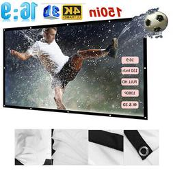 150''inch 16:9 Foldable Wall Projector Screen Home Theater M