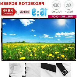 150''Portable Foldable Projector Screen 16:9 Home Theater Ou