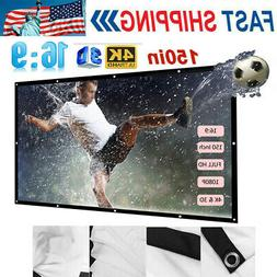 150''Portable Foldable Projector Screen 16:9 HD Home Theater