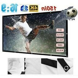 150''Portable Projector Screen HD 16:9 Video Projection Movi