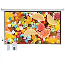 "100"" 16:9 HD Electric Projector Screen Matte Remote Control"