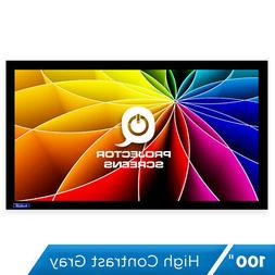 QualGear 16:9 Fixed Frame Projector Screen, 100-Inch High Co