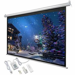 92 Inch 16:9 Motorized Electric Projector Screen w/ Remote C