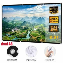 "16:9 Projection Screen Projector 84"" Movie Matte 3D Home Cin"