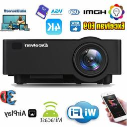 Wireless 4K 1080P WiFi Android 6.0 BT 3D LED Projector 1+ 8G