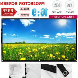 "60"" 84"" 150"" Portable Foldable Wall Projector Screen 16:9 Ho"