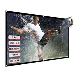 "H60 60"" Portable Foldable Projector Screen HD 16:9 Video M"