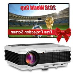 EUG 6000lm HD Video LED Projector Home Theater HDMI USB 1280