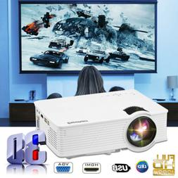 3D 1080P Full HD 7000 Lumens LED Projector Home Theater TV V