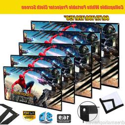 """Excelvan 72/100/120"""" 16:9 Foldable Projector Screen Home Mov"""