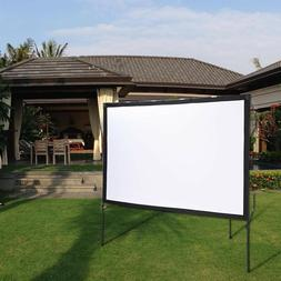"77"" 16:9 Portable Projector Screen with Foldable Frame Stand"