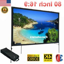 80 Inch 16:9 Portable Projection Projector Screen Folding Fr