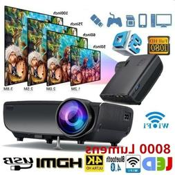 1080P WiFi 3D 4K HD LED Mobile phone wireless Projector Home