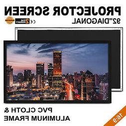 """92"""" 16:9 Fixed Frame Projector Screen HD 4K Home Theatre 3D"""
