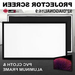 92 Silver Ticket Fixed Frame 16:9 Projector Screen White Mat