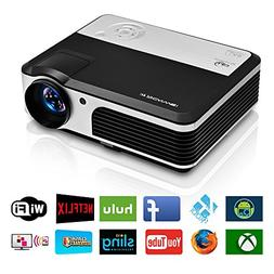 EUG Wireless Home Cinema LED LCD Video Projector, HD 1080P 7