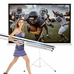 TV Projector Screen with Stand 100 Inch 16:9 HD Foldable Tri