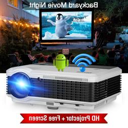 6000lumen Smart Projector Andriod WiFi HD Home Theater Baseb