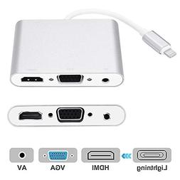 Compatible with iPhone iPad to HDMI VGA AV Adapter, Anlyso L
